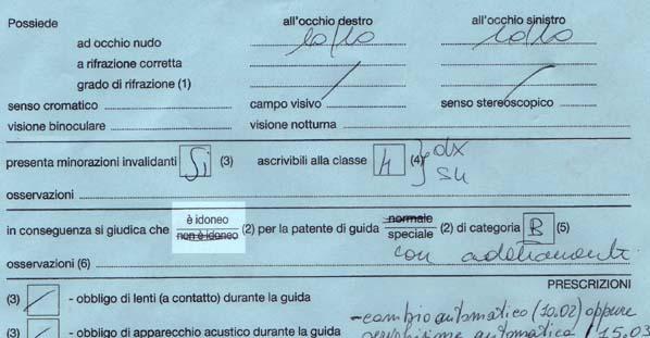 certificato di idoneità alla patente