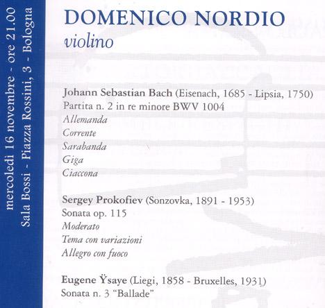 programma del concerto di Nordio del 16 novembre 2005